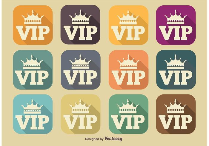 VIP Long Shadow Icons vector