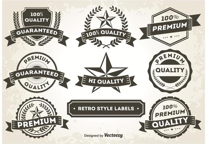 Etiquetas / insignias promocionales del estilo retro