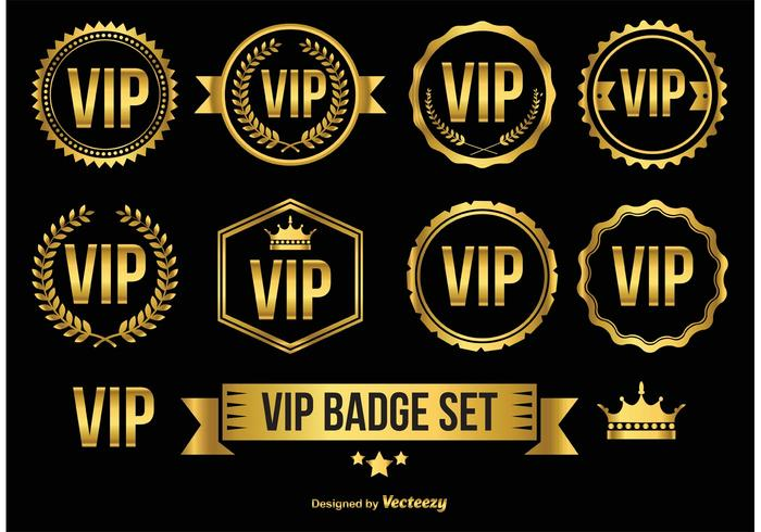 Gold Vip Badges Icons Download Free Vector Art Stock