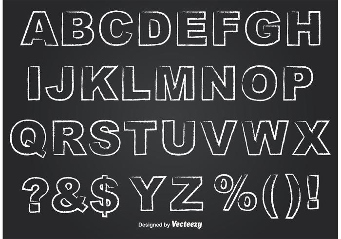 Outlined Chalkboard Style Alphabet