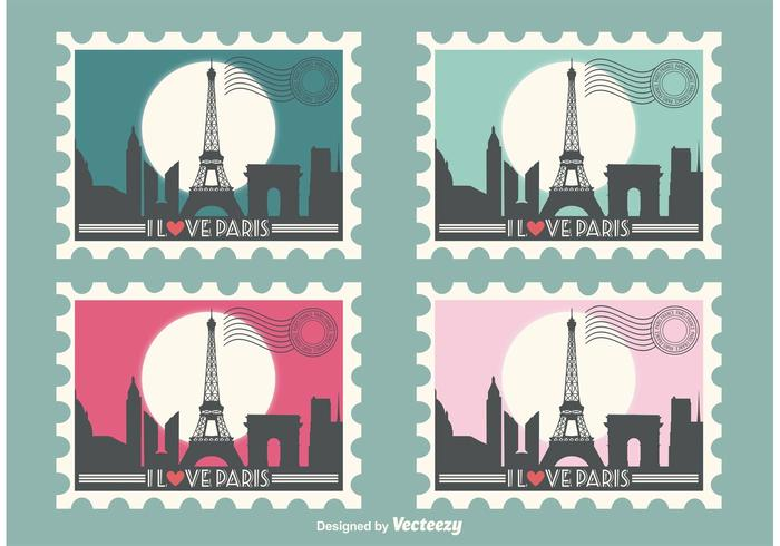 Eiffel Tower Vector Stamps