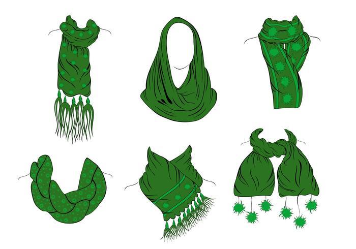 Beautiful Green Neck Scarf Vectors