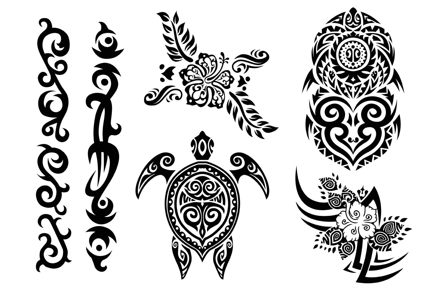 Hawaii Tribal Set in Black and White - Download Free ... - photo#44