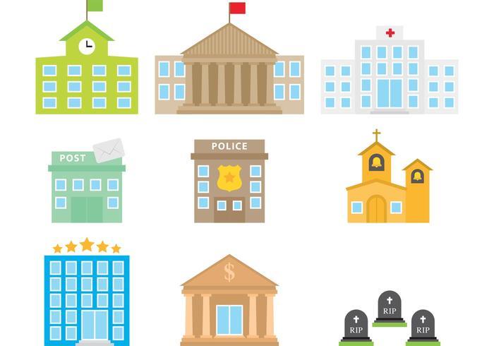 Färgglada City Buildings