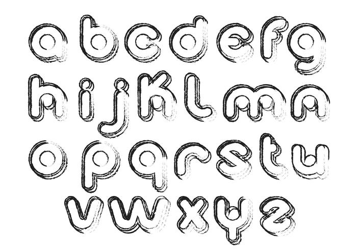 Sketchy Bubble Alphabet Vector Pack