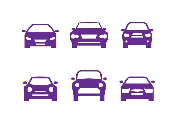 Sagome di auto viola anteriore vettore