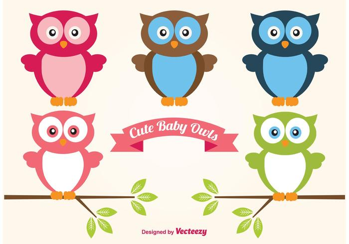 Cute Set of Baby Owls