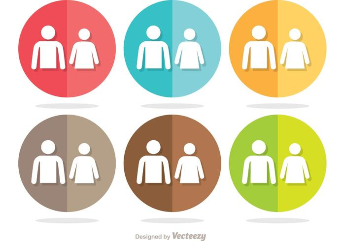 Ensemble de vecteur d'icônes de salle de repos simple et de groupe de cercle