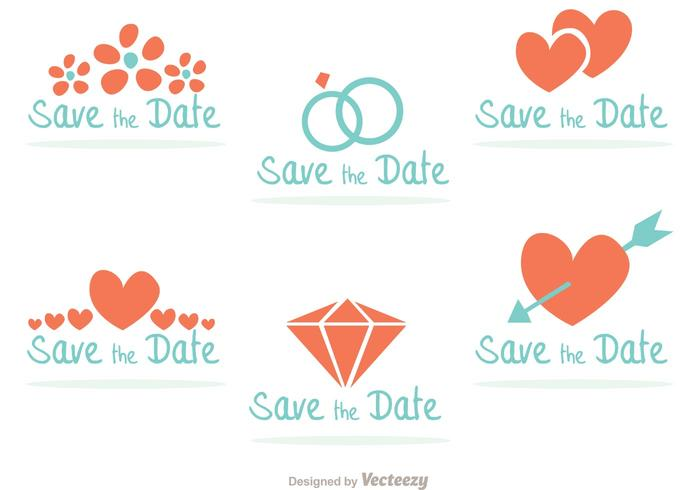 Teal and Coral Save the Date Badges
