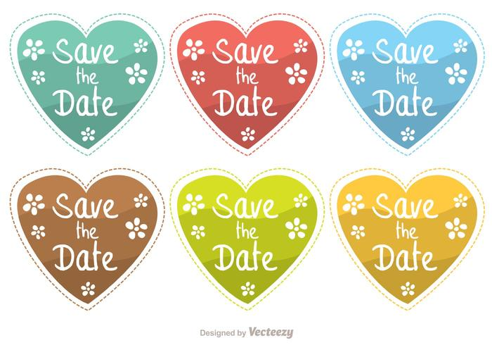 Save The Date Heart Vectors