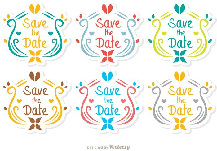 Ornamental Save The Date Vector Pack