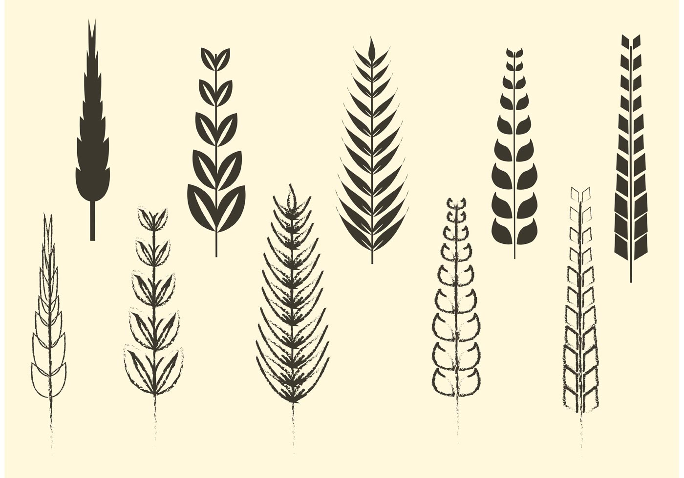 sketchy and solid cereal and wheat vectors download free