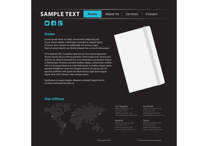 Plantilla del Web site de la escritura del cuaderno