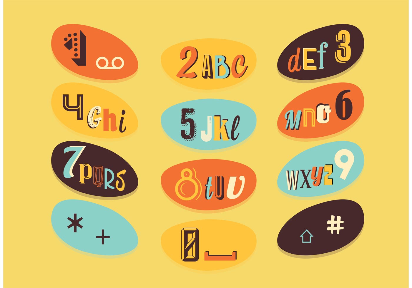 Retro Letter and Number Vectors - Download Free Vector Art ...