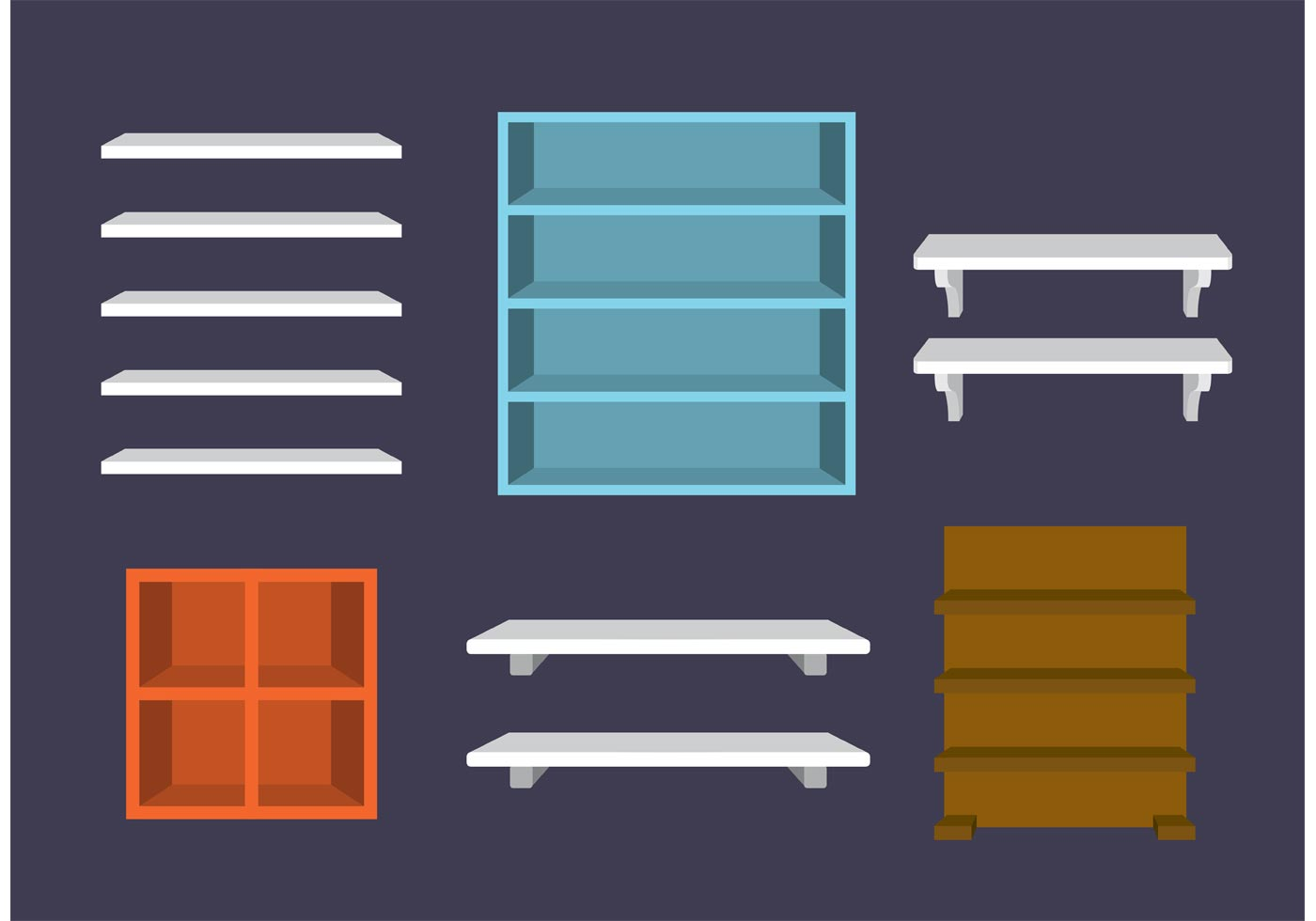 3d Shelves Vectors Download Free Vector Art Stock