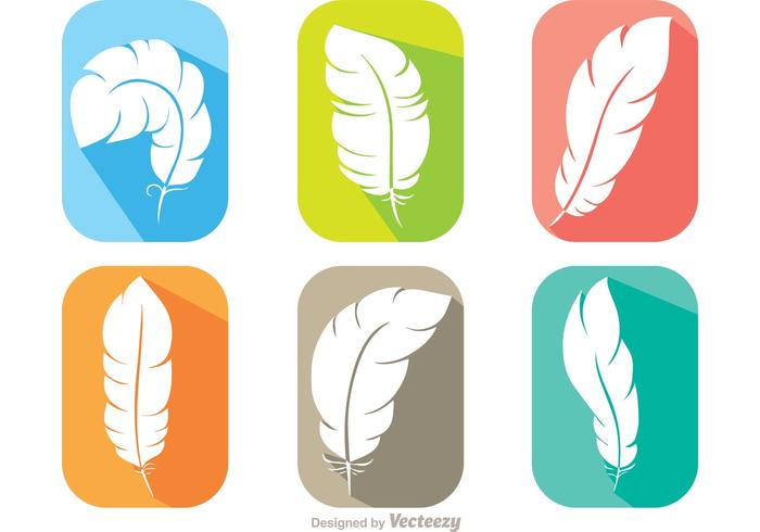 Flat Feather Icons Vector Pack
