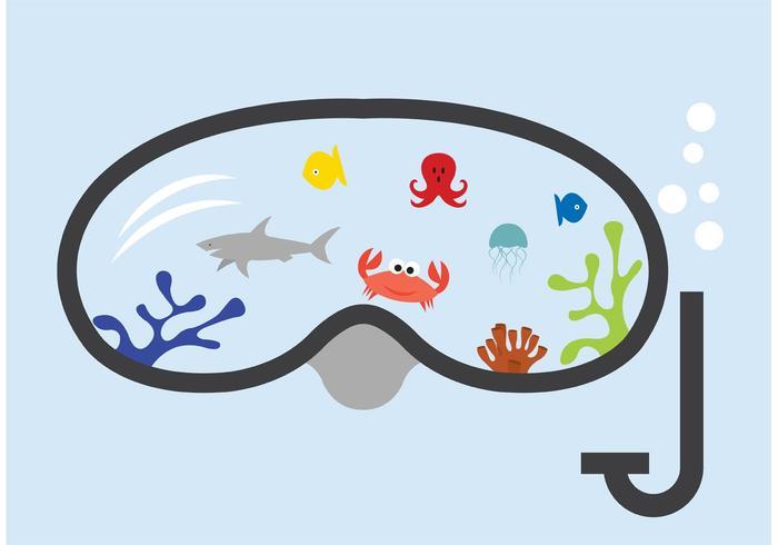 Snorkel com o peixe vetor