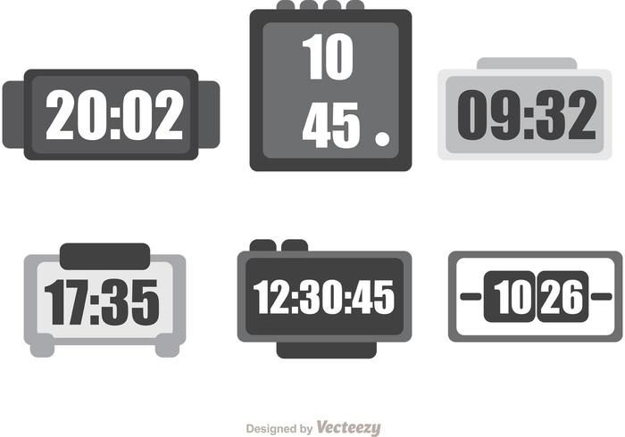 Digital Desktop Clock Vector Pack