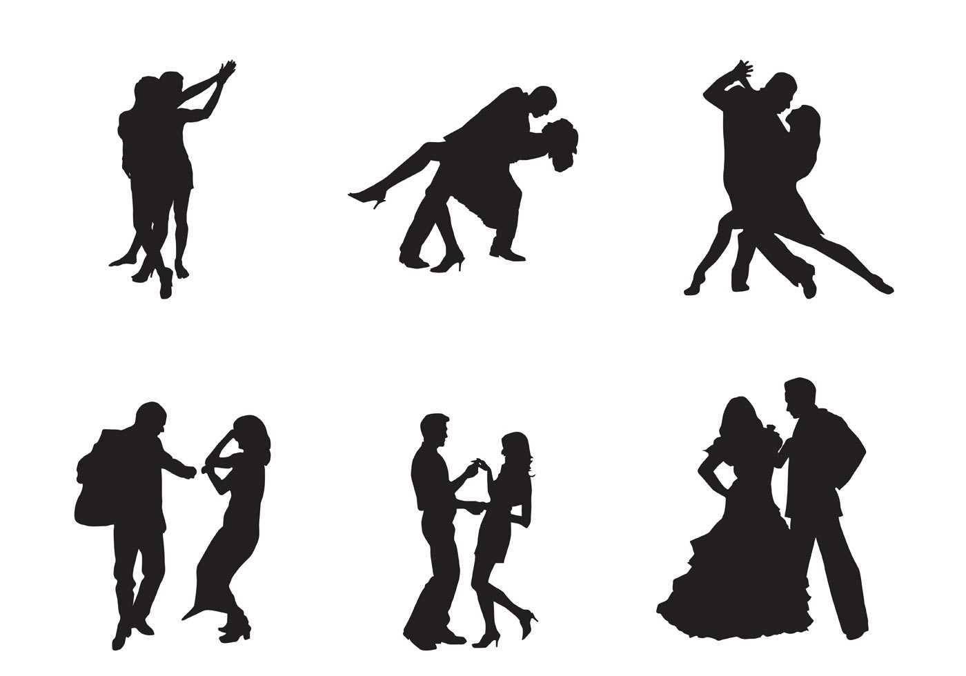 Free Vector Dancing Couples on Waltz Dance Steps