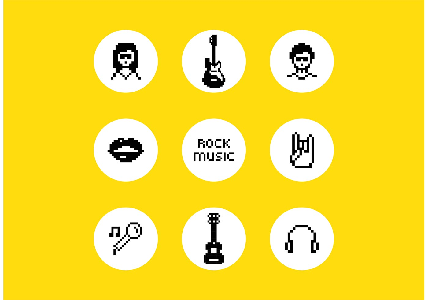 Vector Pixel Rock Music Symbols Download Free Vector Art