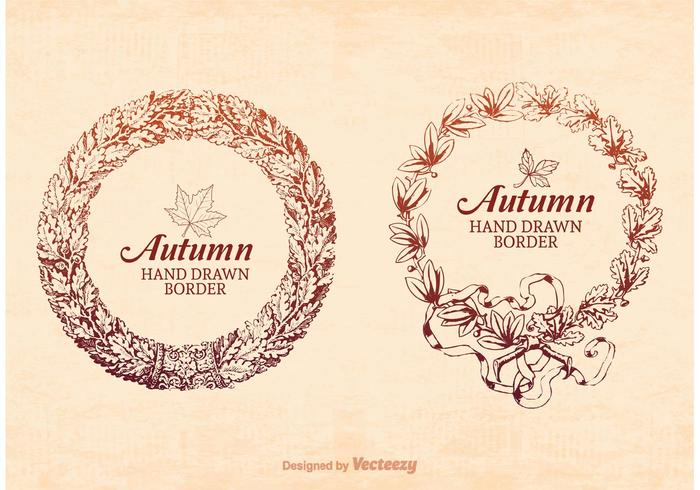 Free Hand Drawn Autumn Frame Border Vector