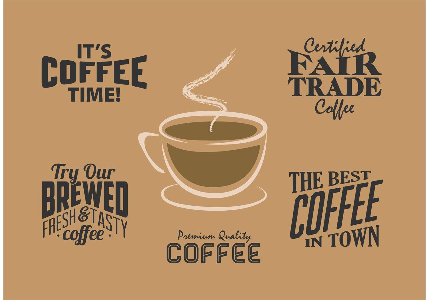 Vintage Coffee Labels Vector Retro Typographic Design Elements