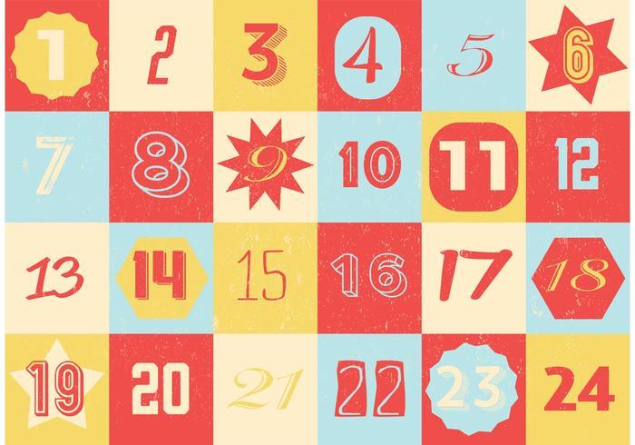 Retro calendario dell'Avvento