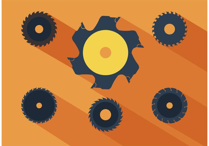 Circular saw blade set vector