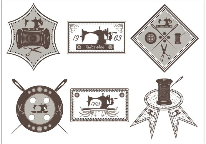 Set of Vintage Sewing Machine Labels