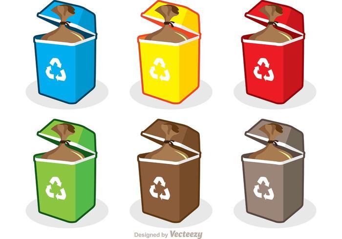 Colorful Trash Set Vector Pack