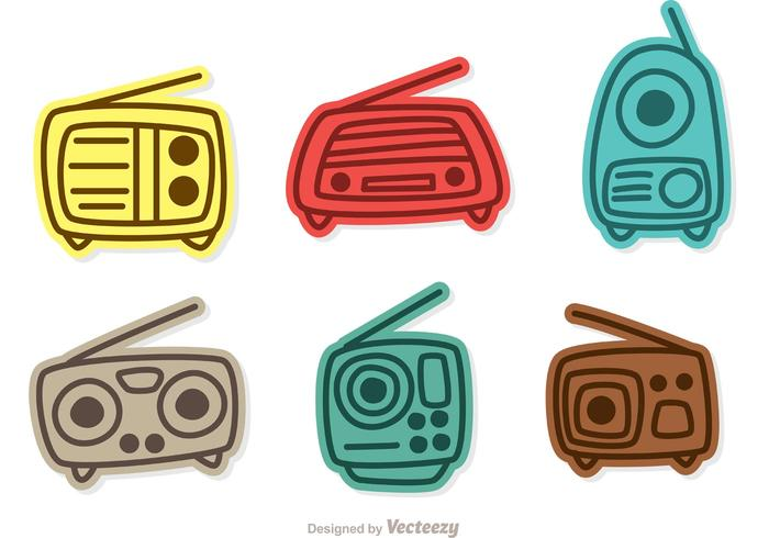 Bunte Retro Radio Vectors Pack