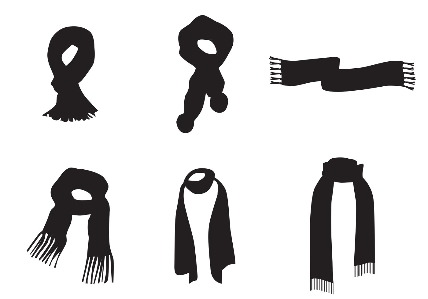 neck scarf vector silhouettes download free vector art