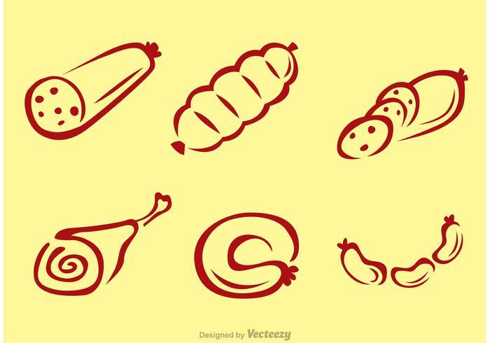 Skizzenhafte Fleischvektoren