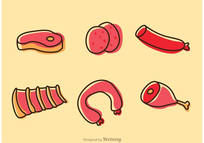 Cartoon Meats And Sausage Vectors Pack