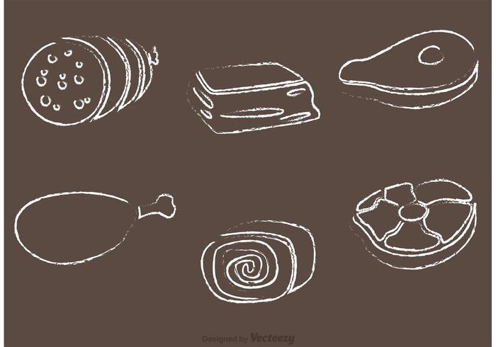 Chalk Drawn Meat Vectors
