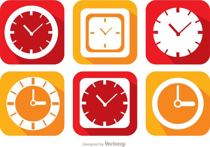 Flat Clock And Time Icons Vector Pack