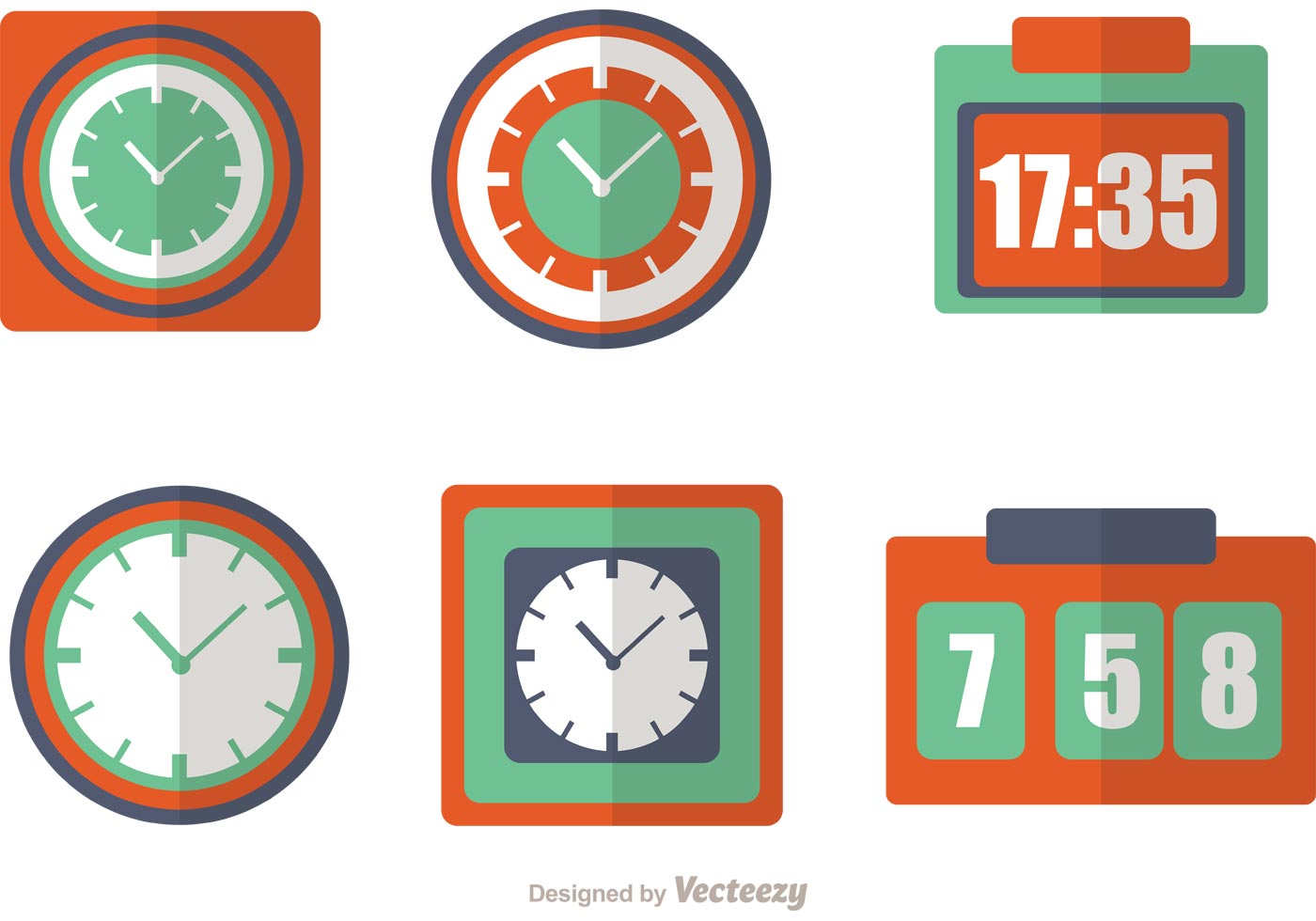 Clock And Time Icons Vector Pack Download Free Vector