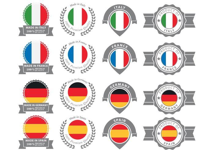 Distintivi europei vettore