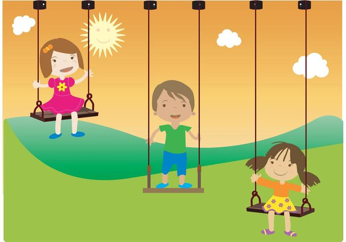 Niños felices balanceando