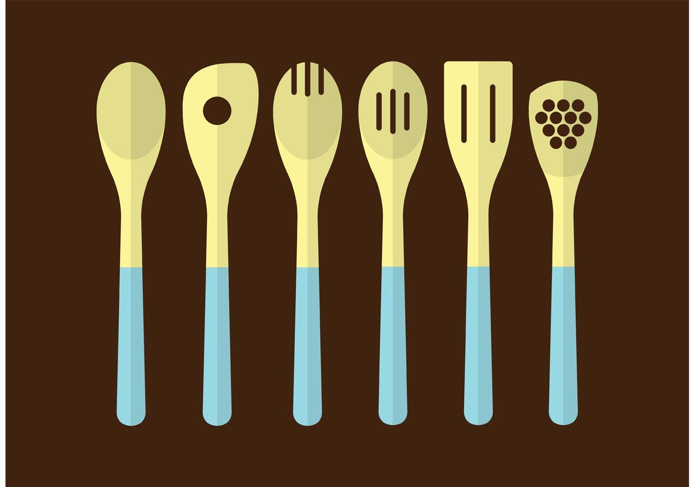 Wooden Kitchen Utensils Download Free Vector Art Stock