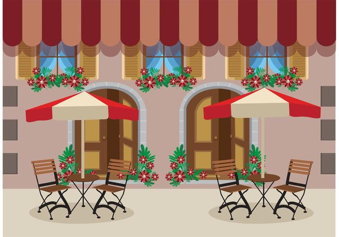 Outdoor Cafe Vector Background