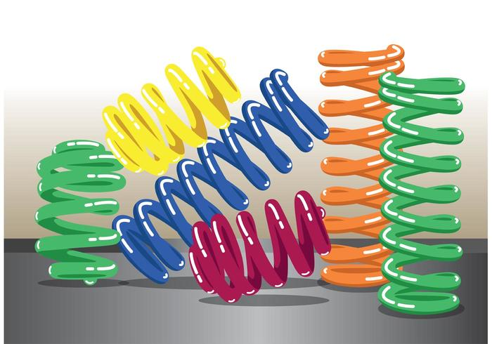 Colorful Coil Spring Vector