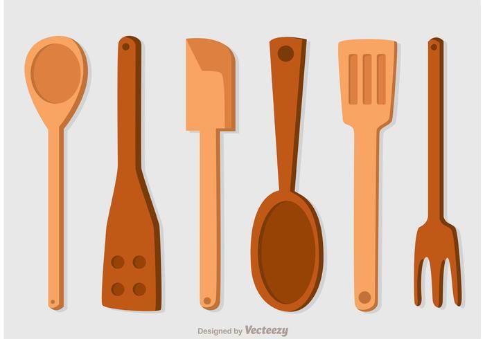 Pacote de vetores de ícones de colheres de madeira