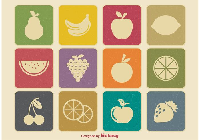 Retro fruit iconen