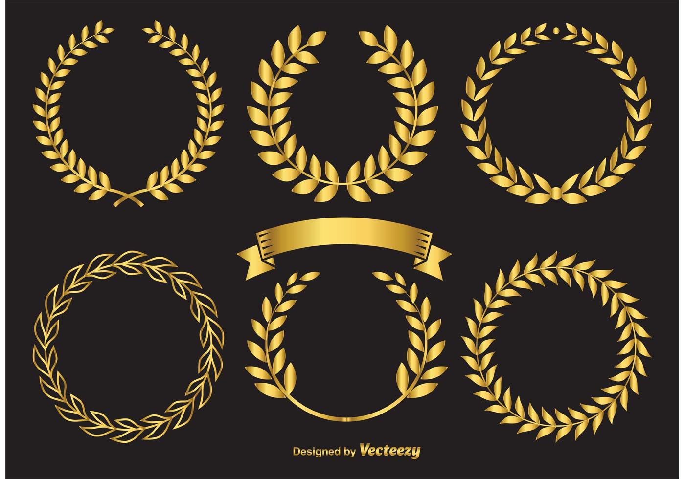 Golden laurel wreaths download free vector art stock for Laurel leaf crown template