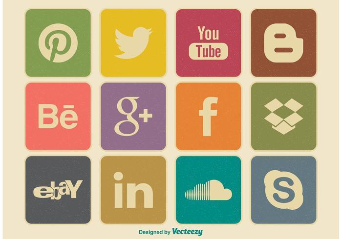 Retro Style Social Media Icon Set
