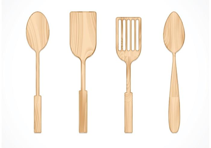 Free Vector Wooden Spoon Set
