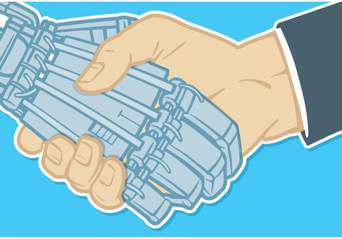 Free Vector Handshake Of Human Hand And Robot