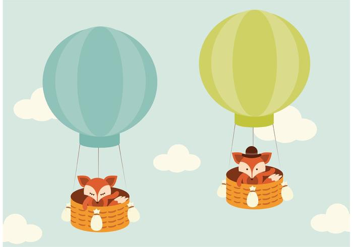 Free Vector Fox Flying In Hot Air Balloon