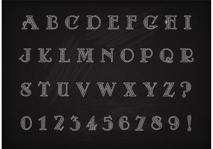 Free Vector Chalk Drawn Art Deco Alphabet And Numbers